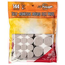 Heavy Duty Round Self Adhesive Felt Furniture Pads (144 pcs) for Surface Protection by AllTough-Value Pack-self stick floor protector padding for hardwood floors, surfaces-chair & furniture gliders.