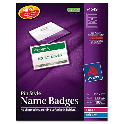 Avery 74549 Name Badge Kit,Easy Pkt,Pin,Top Load,2-1/4-Inch x3-1/2-Inch,100/BX,WE