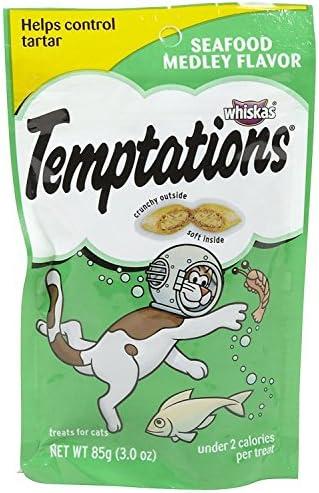 Whiskas Temptations Cat Treats, Seafood Medley, 3 oz Pack of 3
