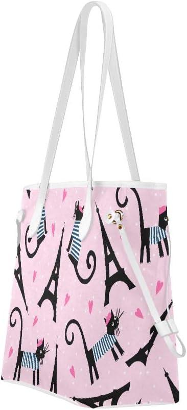 Womans Handbags Cute Cartoon Parisian Cat and Tour Eiffel Tower Woman Bag Handbags Large Capacity Water Resistant with Durable Handle