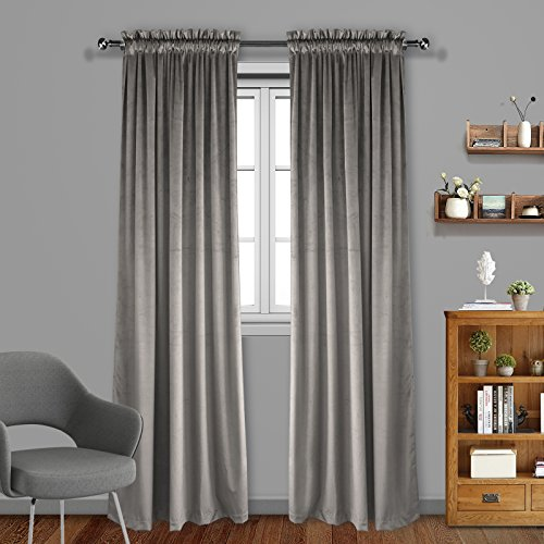 Wash Velvet Curtains - Eamior Living Room Blackout Velvet Curtains - Solid Heavy Matt Dutch Velvet Drape Panel Rod Pocket Drapes Sound Reducing Heavy Solid Panels (2 Pieces, 84 inch Length, Taupe)