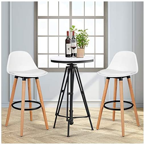 Kitchen COSTWAY Bar Stools Set of 2, Modern Armless Kitchen Stool with Soft PU Leather Seat, Bar Height Stool with Round Metal… modern barstools