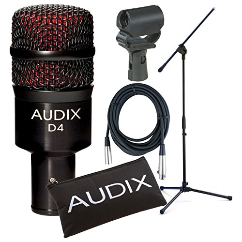 Audix D4 Tom/Kick Drum/Instrument Microphone w/Boom Stand, Cable, and Shockproof Mic Clip