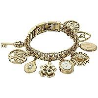 Reloj con brazalete con dijes en tono dorado con detalles de cristal Swarovski 10-8096CHRM de Anne Klein para mujeres