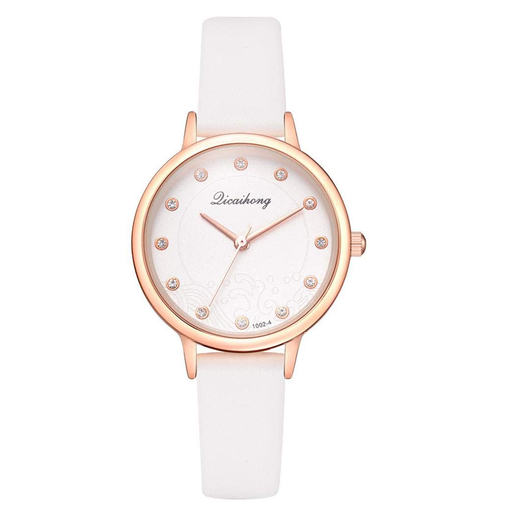 Amazon.com: Giuoke Analog White Dial Womens Watch - Leather Band Quartz Wrist Watch Bracelet Bangle: Home & Kitchen
