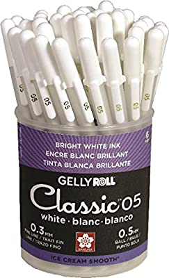 Sakura White Gelly Roll Classic Fine Point Pens Cup 36/Pkg