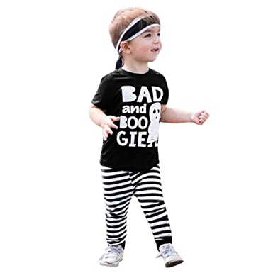 cf76caa85ba9 Amazon.com: Dinlong 2PCS/Set Baby Boy Girl Infant Bad and Boo Gie Letter Cartoon  Tops Striped Pants Outfits: Clothing