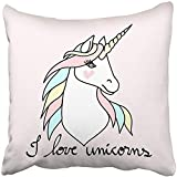 Throw Pillow Cover Square 18x18 Inches White Head Magic Unicorn Blue Symbol Horse Wild Animal Candy Cartoon Child Polyester Decor Hidden Zipper Print On Pillowcases