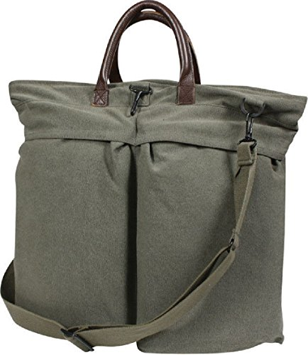 Military Flyers Helmet Bag with Leather Handles Vintage Canvas