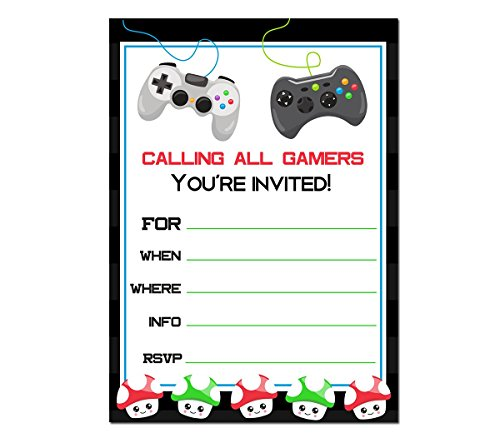 Video game party invitations 10 ct - 5x7 invites for A7 envelopes - Thick 215 gsm, 300 DPI, 98 bright prints - Made in the USA (Handmade Party Invitations)