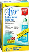 Saline Nasal Rinse Kit from Ayr is an all-in-one, all-natural nasal wash system. This multi-use kit provides soothing comfort both for adults and children 6 and up and allows for both isotonic and hypertonic use.