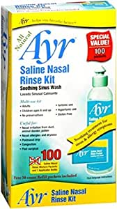 Ayr Saline Nasal Rinse Kit Soothing Sinus Wash, 100-Count Saline Nasal Rinse Mixture Packets Plus Applicator Bottle (Pack of 2)