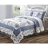 3 PCS Soft Microfiber Quilt Bedspread Coverlet Blue and White Patchwork Floral Design King Size