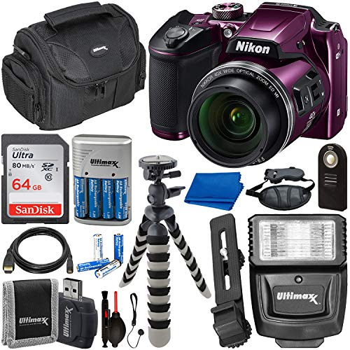 Nikon COOLPIX B500 Digital Camera (Plum) with Essential Accessory Bundle – Includes: SanDisk Ultra 32GB SDHC Memory Card, Rechargeable Batteries (8-AA) & Dock Charger, Digital Slave Flash & Much ()