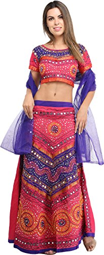 Exotic India Lehenga Choli from Rajasthan with All-Over Embroidery and Sequins - Color Carmine Pink
