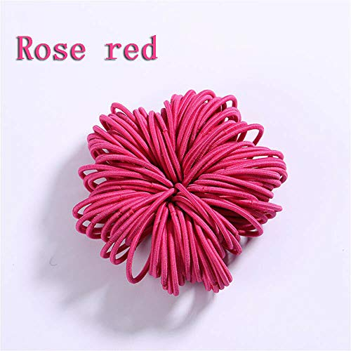 (100PCS Cute Kids Girls Elastic Tiny Hair Tie Band Rope Ring Ponytail Holder New. (Color - rose red))