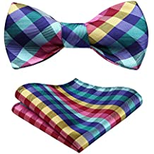 HISDERN Men's Novelty Fashion Self Bow Tie And Pocket Square Set Wedding Party Accessories