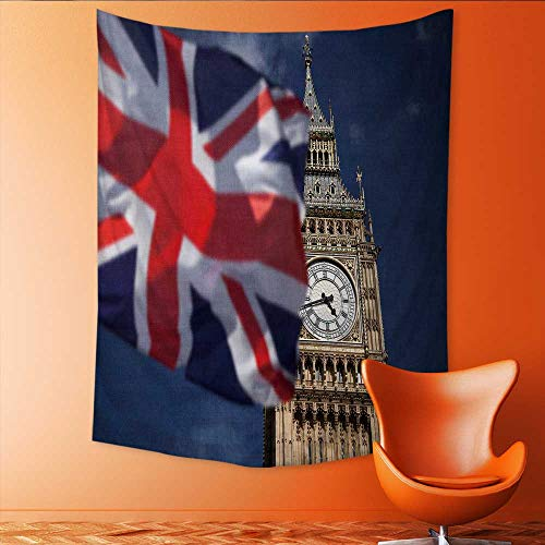 Auraisehome Tapestry Wall Tapestry British Union Jack Flag and Big Ben Clock Towe at City of Westminster inthe Art Wall Decor 70W x 84L INCH