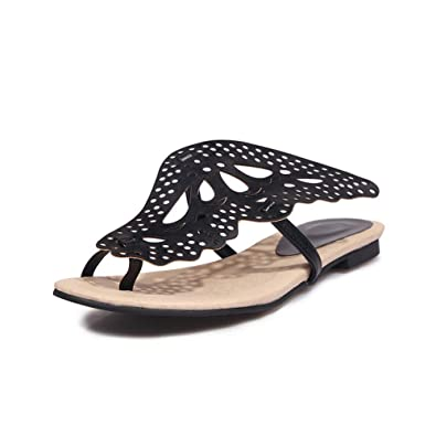 07f02aa32 Aimint Womens Hounds-Tooth Bows Ruffles Black Urethane Sandals EYR00373-2 UK