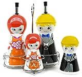 Happy Family Ceramic Oil and Vinegar Dispensers, Salt and Pepper Shakers Cruet Set