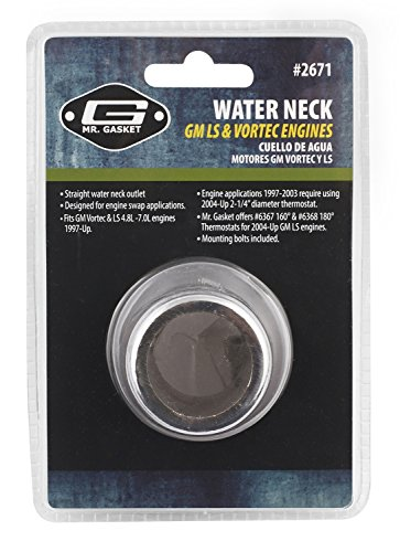 Mr. Gasket 2671 Chrome Straight Water Neck Outlet for GM/Chevrolet LS Engine ()