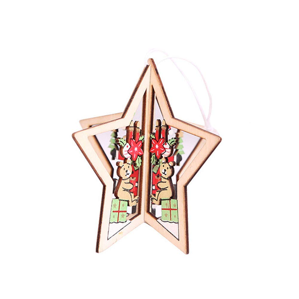 Pollyhb Christmas Tree Pendant Hangings,Bear Deer Home Arch Tableware Decoration Indoor Outdoor Christmas Ornament Tree Hangs,Christmas Bells Decorations for Home,Wood Pendant (B)