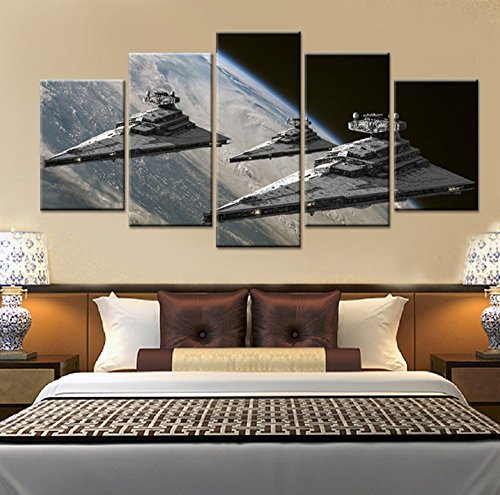 5PCS Framed Star Wars Super Star Destroyer Canvas Prints - 5 Piece Star Wars Super Star Destroyer Battle Artwork for Office and Home Wall Decor (Medium: 2035cm x2pcs +2045cm x2pcs+2055cm x1pc)
