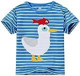 Fiream Little Boys&Girls Summer Cotton Strip T Shirt(Blue3,4T)