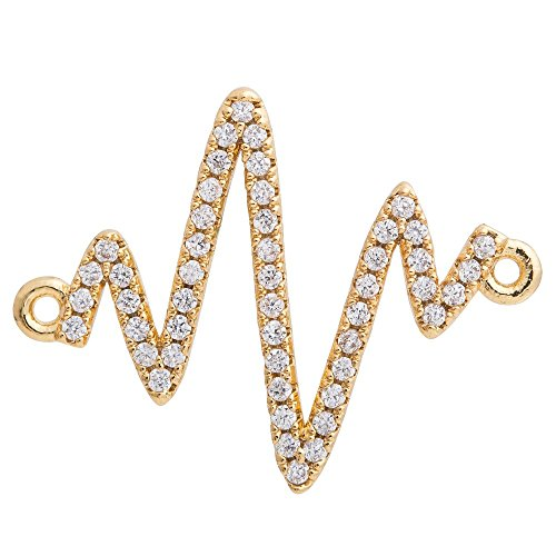 DongStar Jewelry Finding Cooper Paved Connector Bead Cubic Zirconia Crystal (Off Gold Plated)