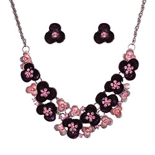[SDLM Fashion Handmade Flowers Collar Jewelry Charm Bib Statement Necklace Stud Earrings Set,p] (Famous Musical Costume Designers)