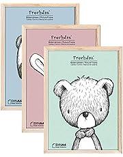 Frechdax® 3er Set Kinderzimmer Poster Babyzimmer Bilder DIN A4 | Mädchen Junge Deko | Dekoration Kinderzimmer | Waldtiere REH Fuchs Hase