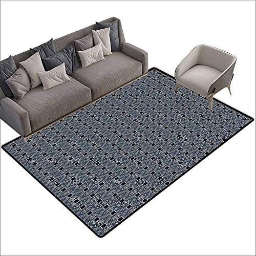 """Floor Mat Entrance Doormat Japanese,Diamond Line Pattern with Squares and Abstract Graphic Flowers,Charcoal Grey Petrol Blue 80""""x 96"""",Carpet mat"""