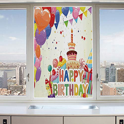 3D Decorative Privacy Window Films,Heart Shaped Funny Balloons Cupcakes Candies Presents and Party Hats,No-Glue Self Static Cling Glass Film for Home Bedroom Bathroom Kitchen Office 24x36 Inch