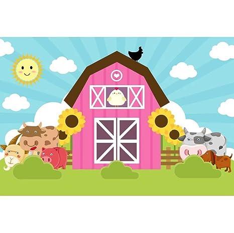 Ofila Kids Cartoon Farm Barn Backdrop 8x5ft Polyester Fabric Farm Animals Photos Background Farm Birthday Party Decoration Baby Shower Shoots Toddler