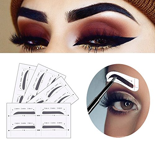 Ruler Stamp (Eyebrow Stencil Shaper with 3 pcs Eyebrow Razor- Eyebrow Stencil Ruler Shaping Template for DIY Grooming – Eyebrows Grooming Stencil Kit Reusable Styling Tool, 16 Unique Styles, 32pcs)