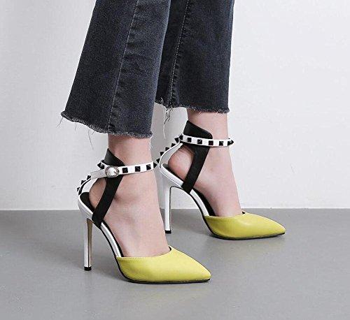 Ankle Cono Heel Bombas Tacones Zapatos Verano Corte Baotou Remaches Color Puntiagudos Mujeres Bombas Encanto yellow Amarillo Damas Mixed GLTER Sandalias Negro Strap 5aOx6nz