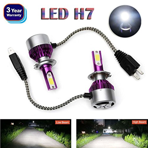 H7 LED Headlight Bulbs 2018 Newest Design All-in-One Conversion Kit COB Chip High or Low Beam Light 6000K White 12000LM High Power Plug & Play – 3 Year Warranty