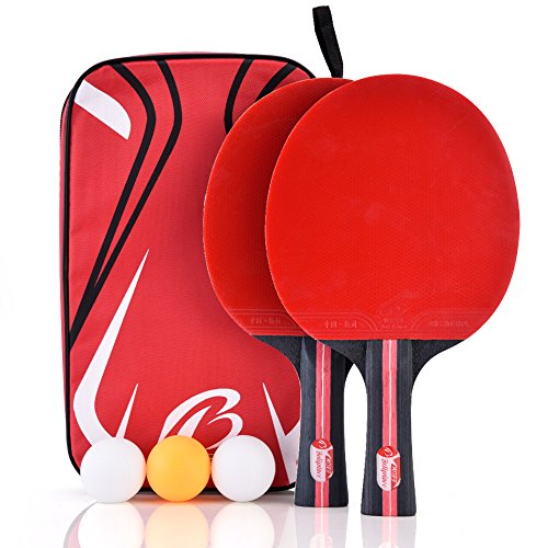 Dioche Boliprince Ping Pong Paddles, 2-Player Table Tennis Racket Set with Carrying Bag and 3 Balls for Shake-Hand Grip Players by Dioche (Image #8)