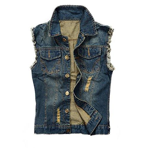 NASKY Men's Fit Retro Ripped Denim Vest Sleeveless Lapel Jean Vest Jacket Waistcoat Top Plus Size X-Large Dark Blue]()