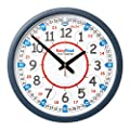 "EasyRead Time Teacher Children's Classroom Wall Clock showing 12 & 24 hour time, 14"" diameter"