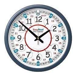 EasyRead Time Teacher Children's Classroom Wall Clock showing 12 & 24 hour time, 14 diameter