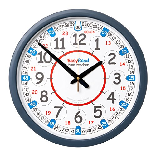 EasyRead Time Teacher Children's Classroom Wall Clock showing 12 & 24 hour time, 14