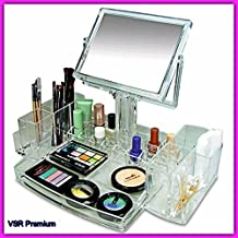VSR Acrylic Organizer With Two Sided Mirror.Clear Color.Luxury Womens Cosmetic Make Up Tray Display Stand Rack For Storage Lipstick Brush etc.Tabletop Beauty Stylish Vanity Piece.Stunning Room Decor