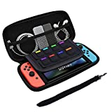 Nintendo Switch Case - ROSIMO Nintendo Switch Carrying Case Hard Travel Carrying Case with 8 Game Cartridge Holders, Double Zippers Portable & Travel Friendly - Black