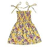 Kids Toddler Baby Girls Summer Dress Outfits Ruffle Strap Sunflower Print Tutu Skirt Sunsuit Beachwear Clothes Set (Yellow Floral, 18-24 Months)