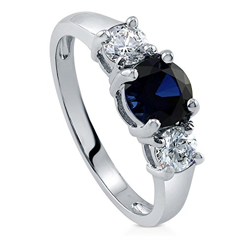 Round Stone Mother Ring (BERRICLE Rhodium Plated Sterling Silver Cubic Zirconia CZ 3-Stone Promise Engagement Ring Size 9)