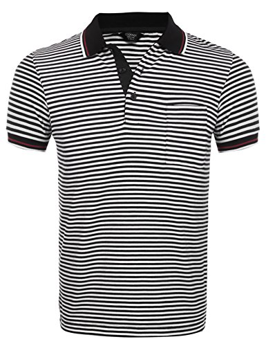(クーファンディ) Coofandy ポロシャツ メンズ 半袖 ボーダー ゴルフウェア スポーツ 通気 快適 カジュアル 仕事 フィット スリム 胸ポケット付き 肌触りよい 黒 ブルー S~XXL