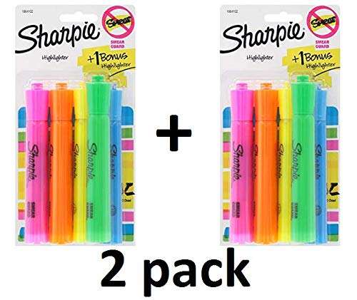 Tank Highlighters, Chisel Tip, Assorted Colors, 8-Count + 2 Bonus