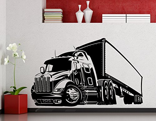 Big Truck Wall Decal Semi Truck Automobile Monster Car Vehicle Vinyl Sticker Home Nursery Kids Boy Girl Room Interior Art Decoration Any Room Mural Waterproof Vinyl Sticker (196xx)