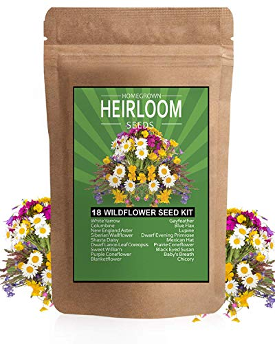 Wildflower Seeds - Premium Flower Seeds Pack [4oz / 18 Variety] Perennial Garden Seeds for Attracting Birds & Butterflies - Flower Seeds for Planting Outdoor